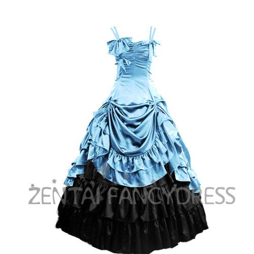 Affordable Double Shoulder Strips Multi Layers Light Blue Gothic Victorian Dress