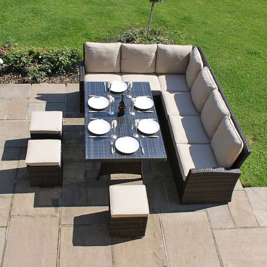 Monte Carlo Square Table Casual Dining Set Rattan Garden Furniture Rattan Garden Corner Sofa Luxury Garden Furniture