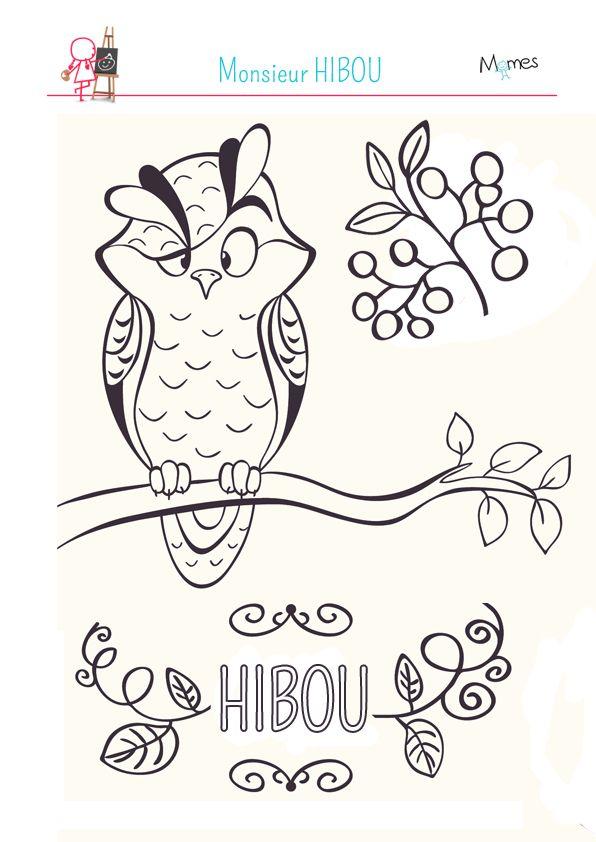 Coloriage monsieur hibou digi stamps pinterest - Hibou a colorier ...