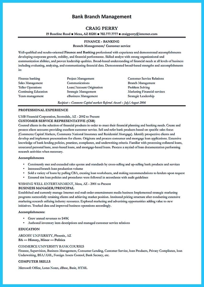 nice One of Banking Resume Examples to Learn
