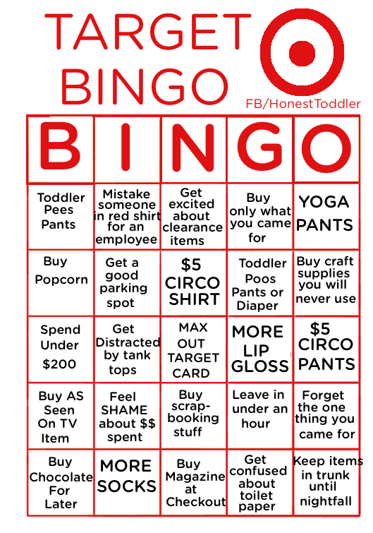 Target Bingo Because You Love Spending Money Don T Lie