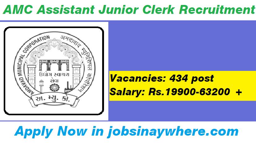 AMC Assistant Junior Clerk Recruitment 2019 Apply 434