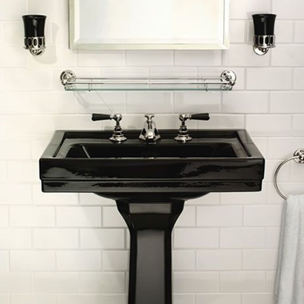 Antique Bathroom Decorating Ideas With Glossy Black Pedestal Sink