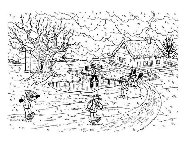 Coloring Pages Winter Landscape Coloring Pages
