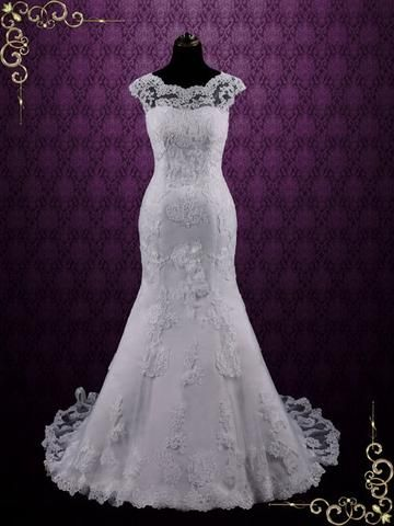 e468d2cca286 White Modest Vintage Lace Champagne Wedding Dress with Cap Sleeves