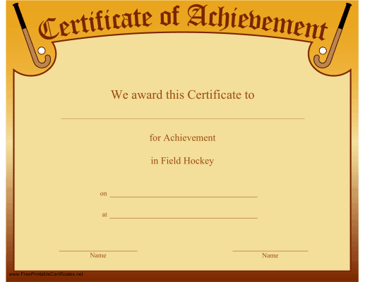 a certificate of achievement for a field hockey player or team free