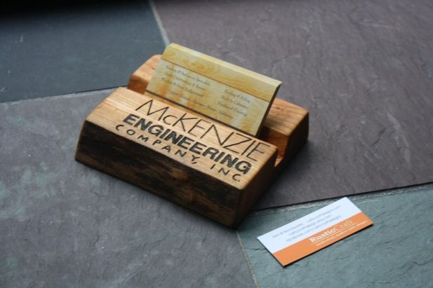 personalized business card holder rustic wood fathers day gift