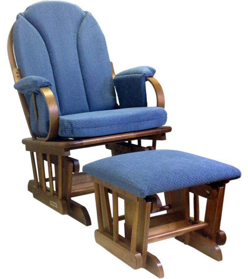 Shermag Glider Rocker And Ottoman Corduroy Blue Glider And