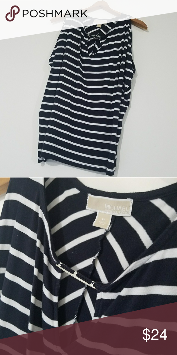 36594f1476 BOGO Sale! Michael Kors Top Black   White Striped MK Top with keyhole on  cleavage area. Minor scratching on silver plate is the only flaw. Otherwise  EUC.
