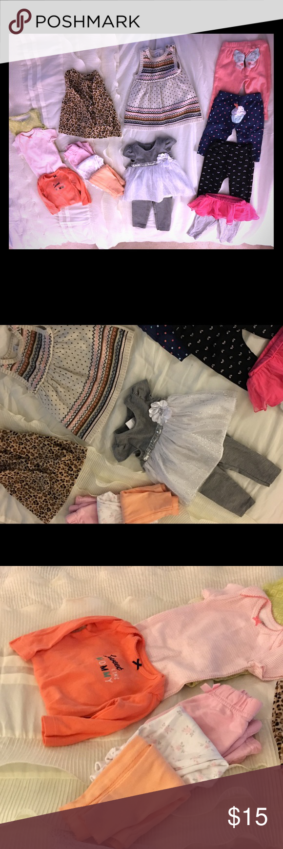 6 month bundle 7 pairs of pants. Three like new onsies. 1 sweater dress. 1 adorable sparkly white and grey dress outfit. 1 fleece leopard print top. All great condition. carters Shirts & Tops