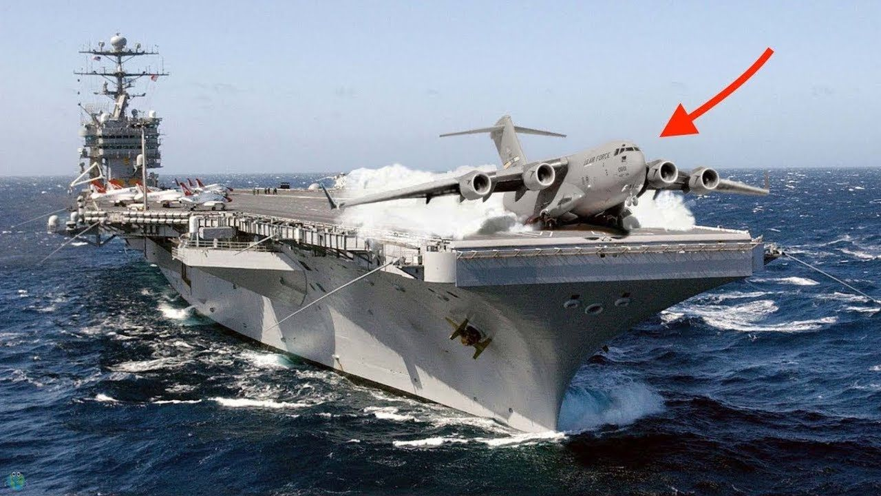 Big Planes and Small Planes on Aircraft Carrier - Landing ...