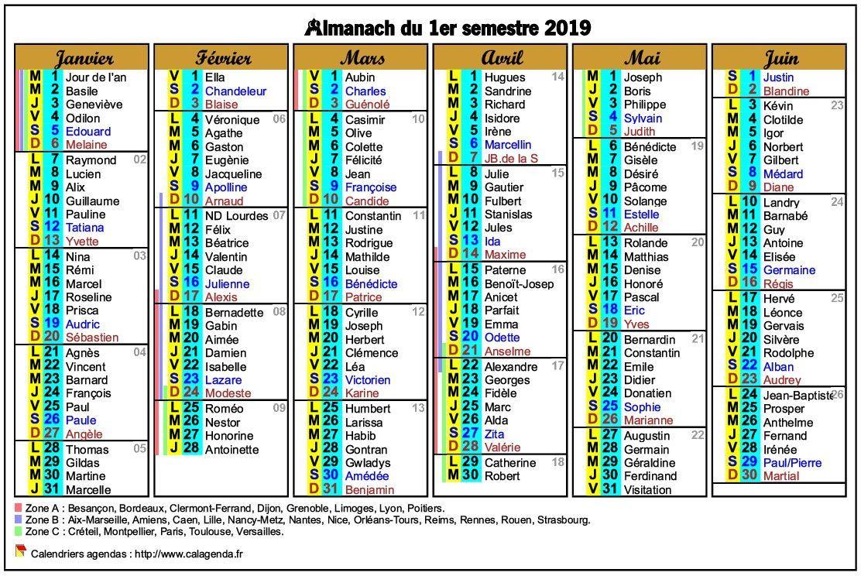 Calendrier 2020 Semestriel.Calendrier 2019 Semestriel Six Colonnes De Format Paysage
