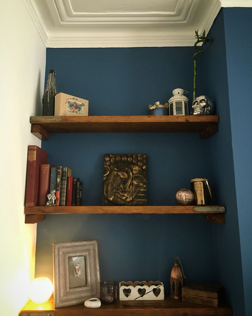 Deep Blue Paint Living Room Shelves Wood Homemade Scaffold Buddha