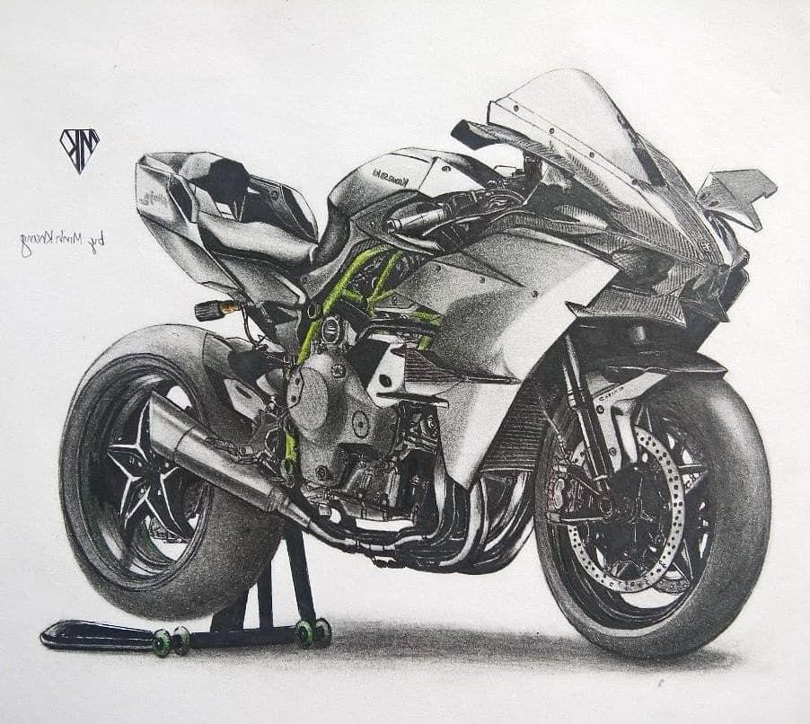 Kawasaki Ninja H2 Rさんはinstagramを利用しています Drawing Of Kawasaki H2r By Minhkhang1203 Motorbike Drawing Bike Sketch Motorcycle Art