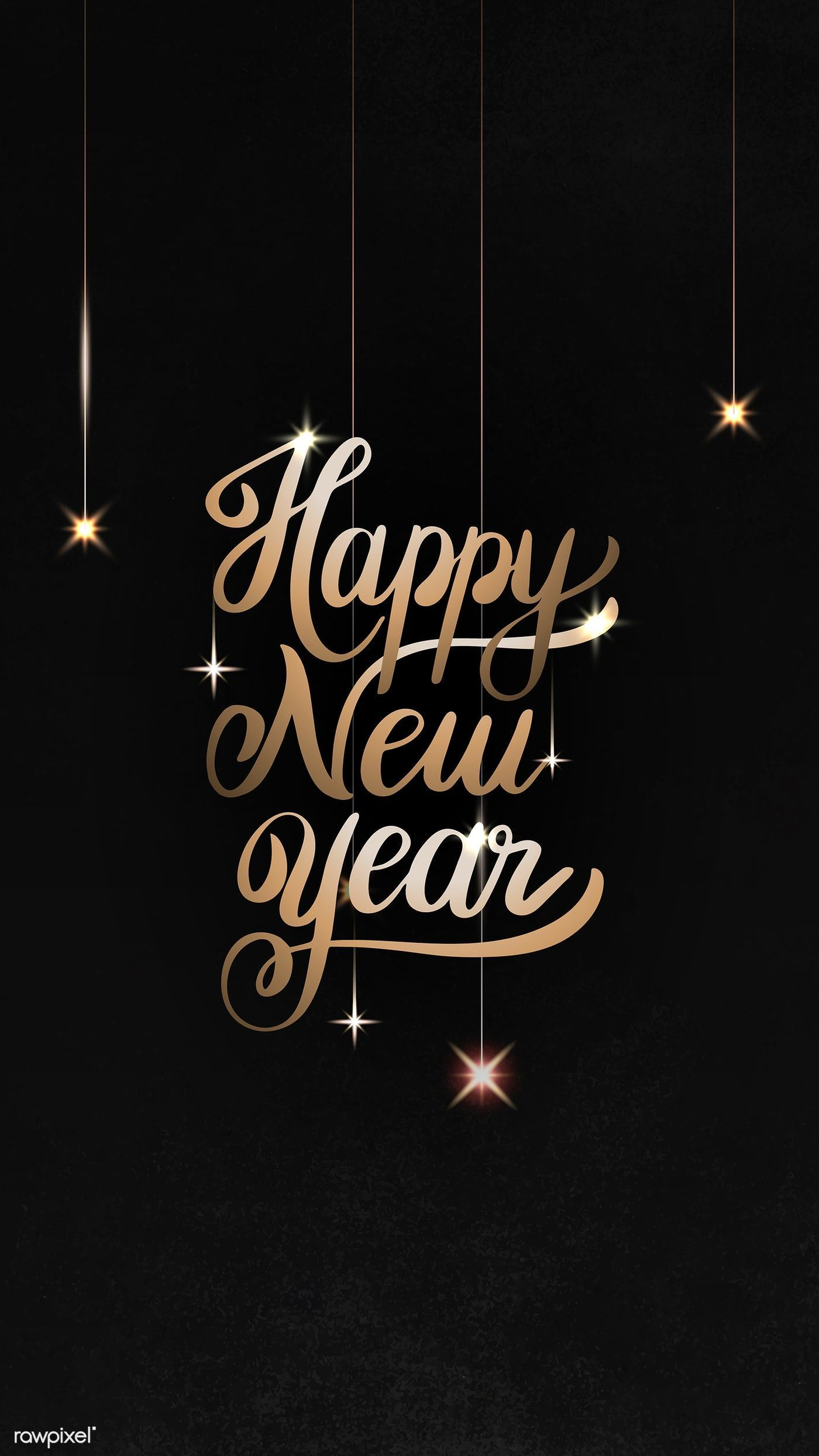 Happy New Year black greeting card template vector