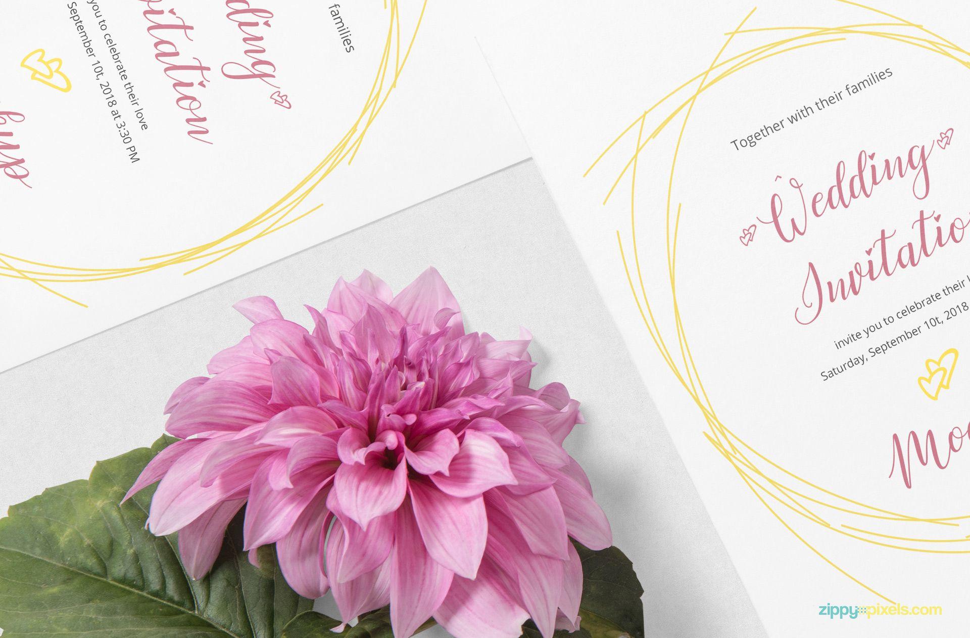 Free Wedding Card Mockup PSD Free wedding cards, Wedding