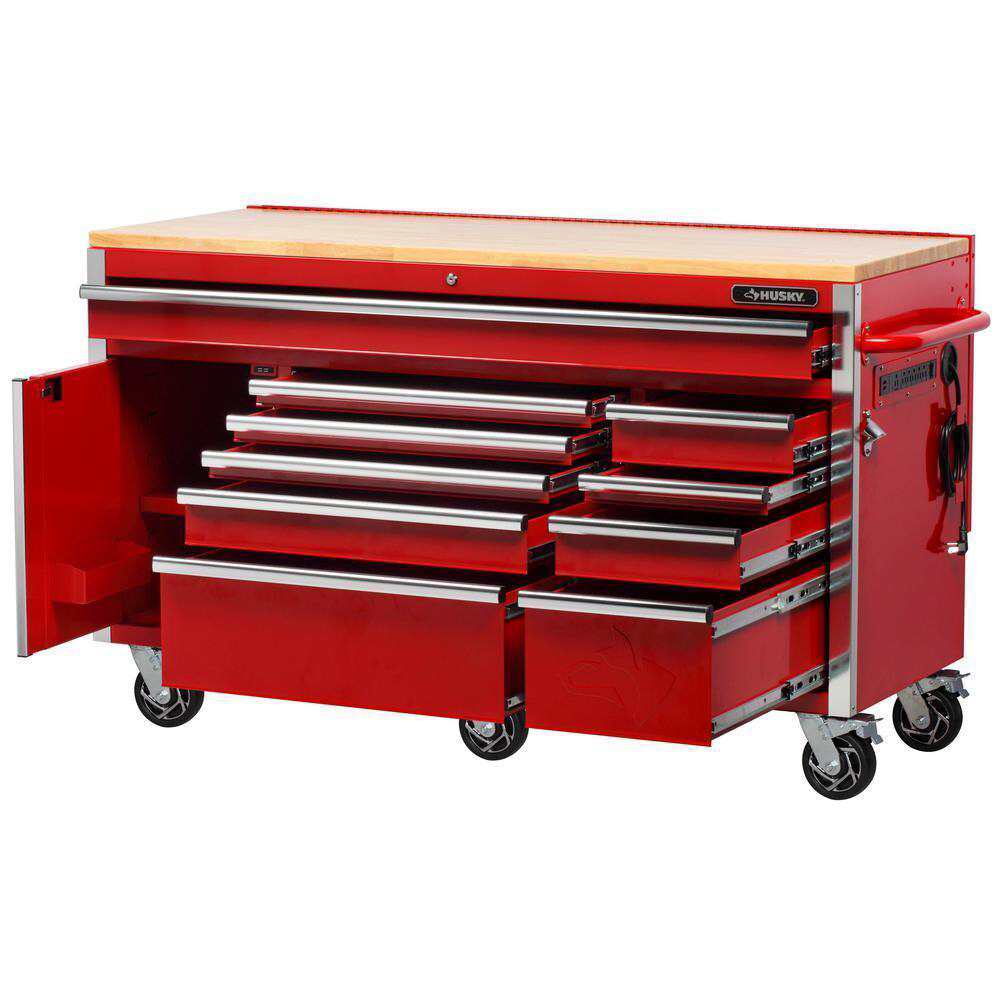 Product Overview The Husky 61 In W 23 In D 10 Drawer 1 Door Mobile Work Center With Solid Wood Top And Flip Up Pegboard Mobile Workbench Tool Chest Workbench