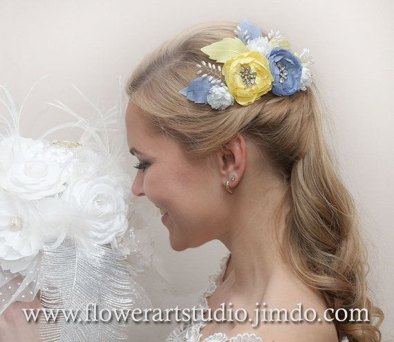 Bridal Headpiece Yellow and Blue-gray flower by Flowerartstudio