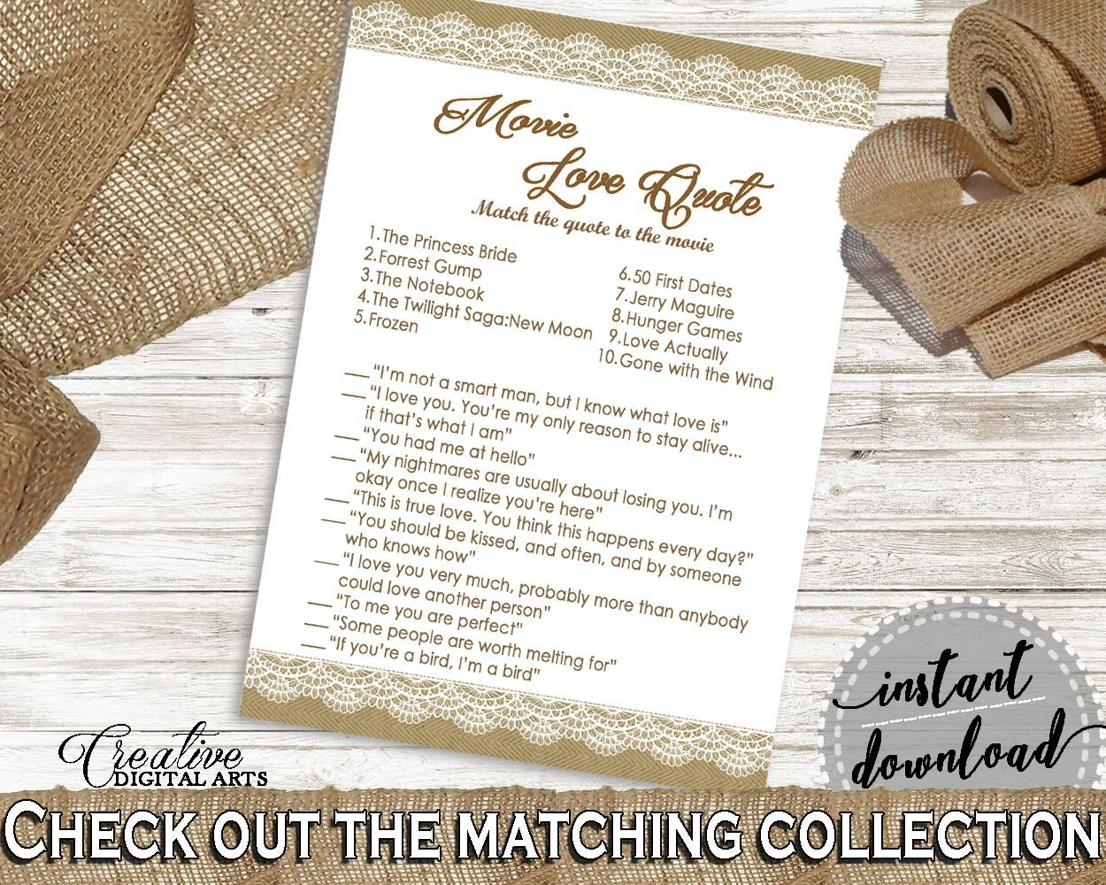 Movie Love Quote Game in Burlap And Lace Bridal Shower Brown And Tan ...
