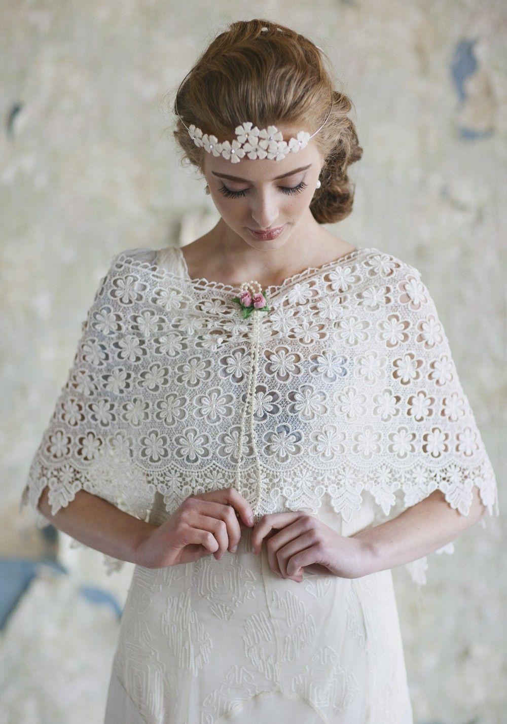 Modern vintage wedding dresses  Sweet Reminiscing Lace Shawl  Modern Vintage Cover Ups  Modern