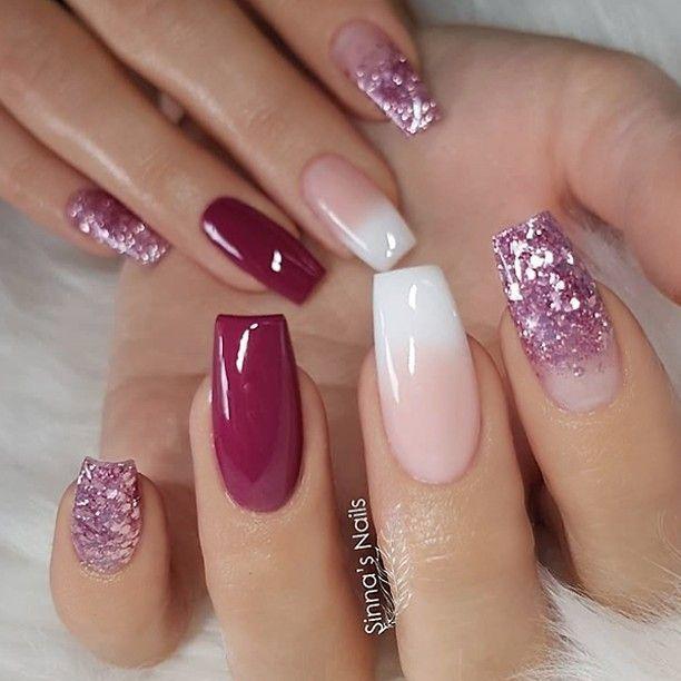 REPOST - - - - Weinrot French Fade und Glitter auf langen quadratischen Nägeln ... , #auf #F...
