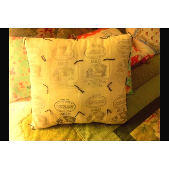 Pillow I made from vintage cloth JC Potter sausage bags