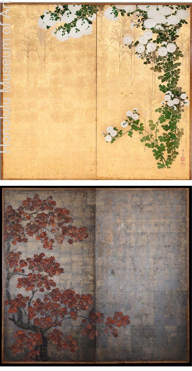Chrysanthemum Ogata Korin 1658 1716 Edo Period Japanese Painting At The Art Style Vintage Essay