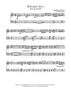 Red - Taylor Swift (easy key). Find more free sheet music at www.PianoBragSongs.com.
