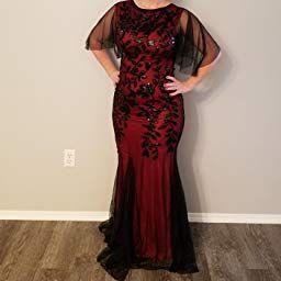 034ba80ae227 PrettyGuide Women's Evening Dress 1920s Sequin Deco Mermaid Hem Maxi Long  Ball Gown Black S at Amazon Women's Clothing store: