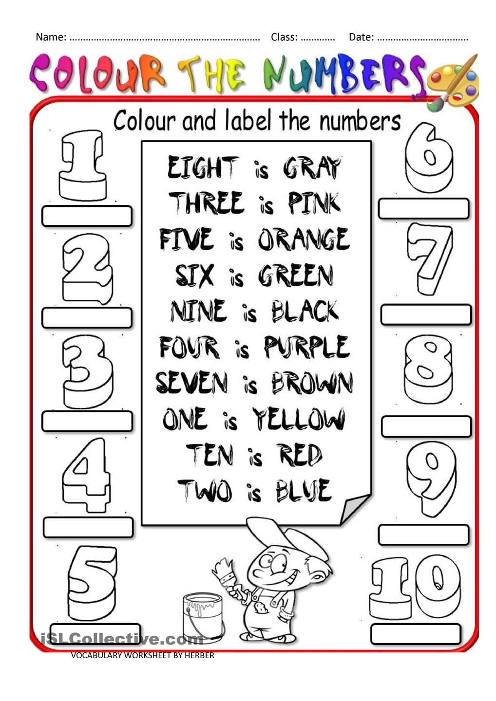COLOUR THE NUMBERS English worksheets for kids