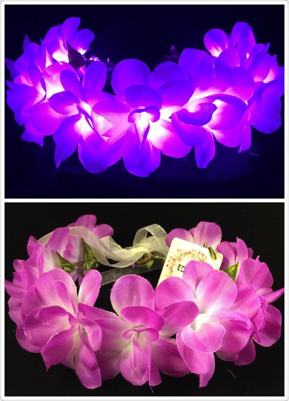 Purple-LED flower crown floral headband light up by EDMfairy  513f4bfce10
