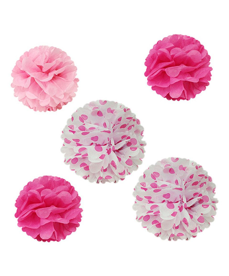 Love this Dark Pink Mixed Tissue Pom-Pom - Set of 10 by Wrapables on #zulily! #zulilyfinds