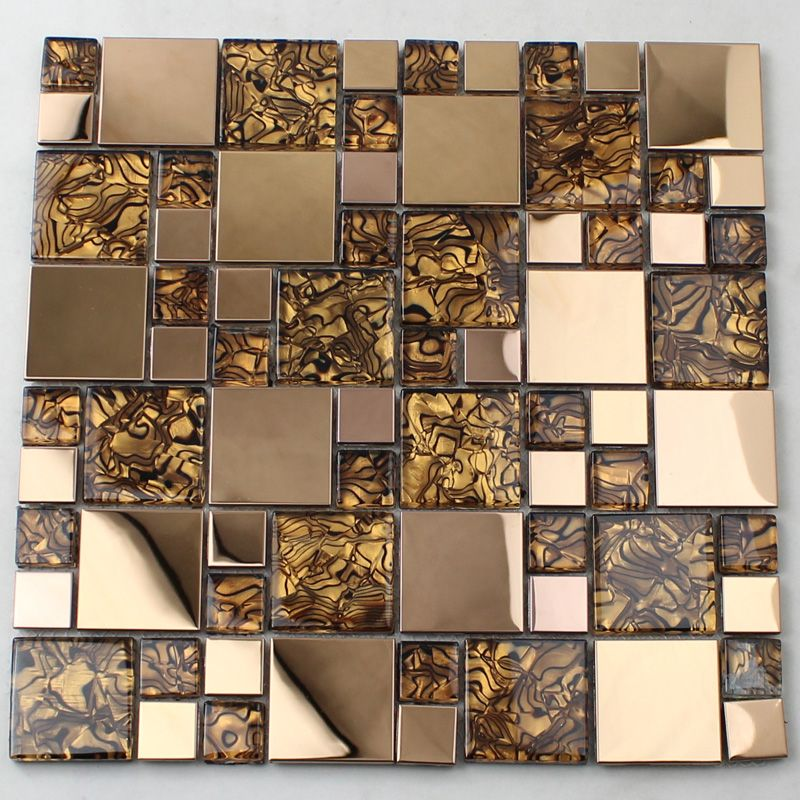 Vitreous Mosaic Tile Backsplash Gold 304 Stainless Steel with Porcelain  Base Metal and Glass Blend, Collection: Metal Glass Mosaic Tiles, Gold Tile