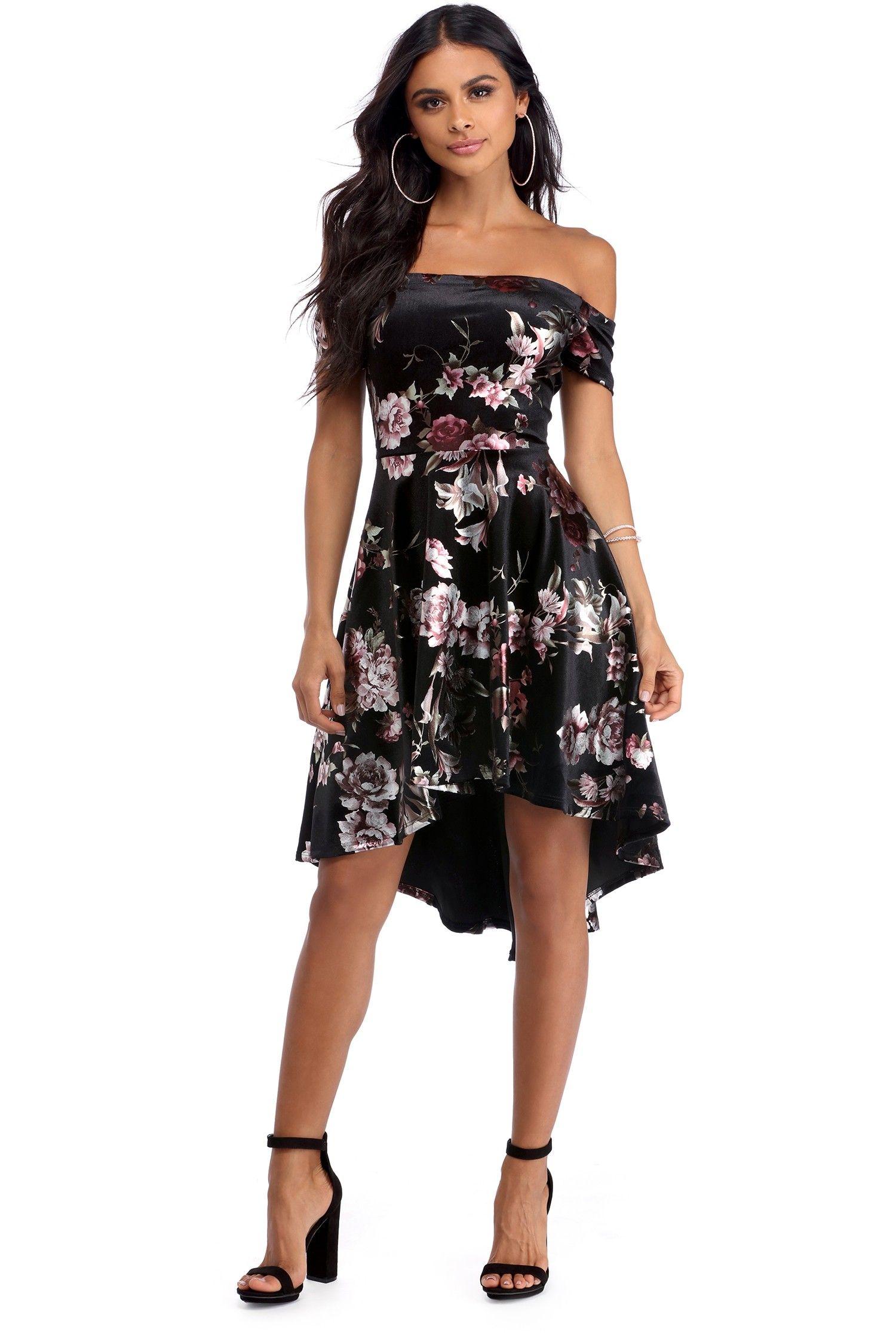 1a82945c5232 Black Foiled Floral Velvet Dress