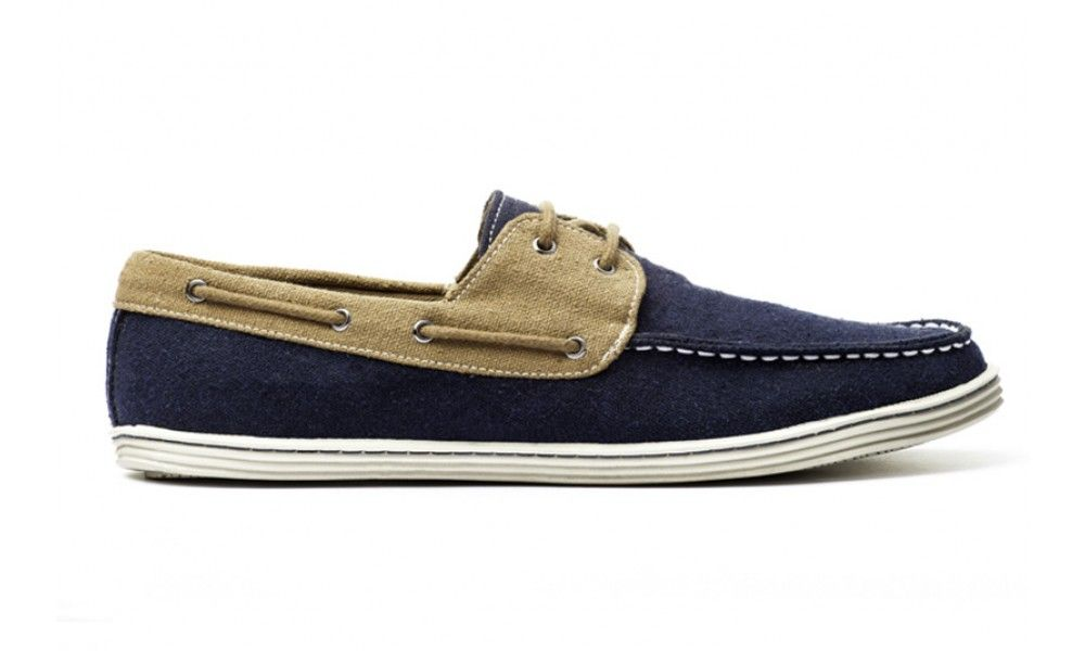 Veganer Herrenschuh - Ahimsa Boat Shoe Navy/Kraft