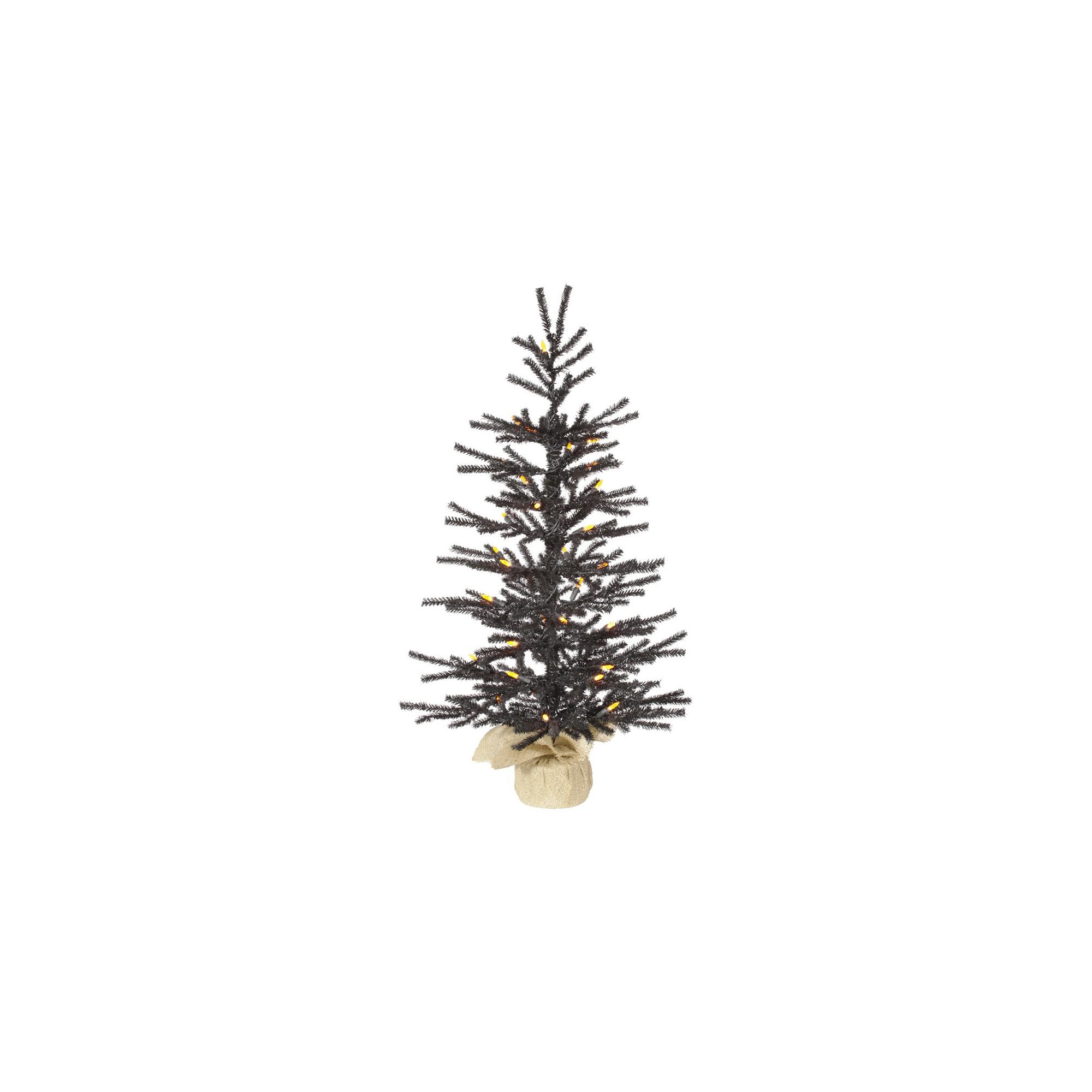 2.5ft Black Pistol Artificial Christmas Tree with Orange Led Lights ...