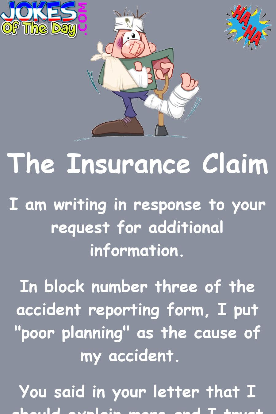 Funny The Insurance Claim in 2020 New funny jokes