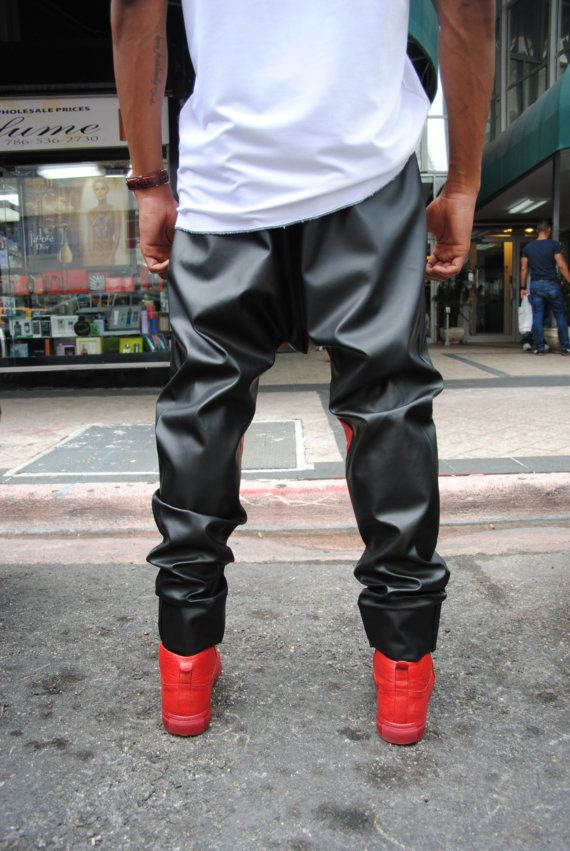 Black and Red Leather Drop Crotch Harem Pants   Mens by GAGTHREADS ... 1dc050865e