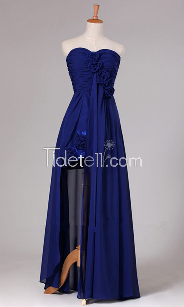 New A-line Chiffon Sweetheart Long Evening Dresses Ruched Watteau Flowers