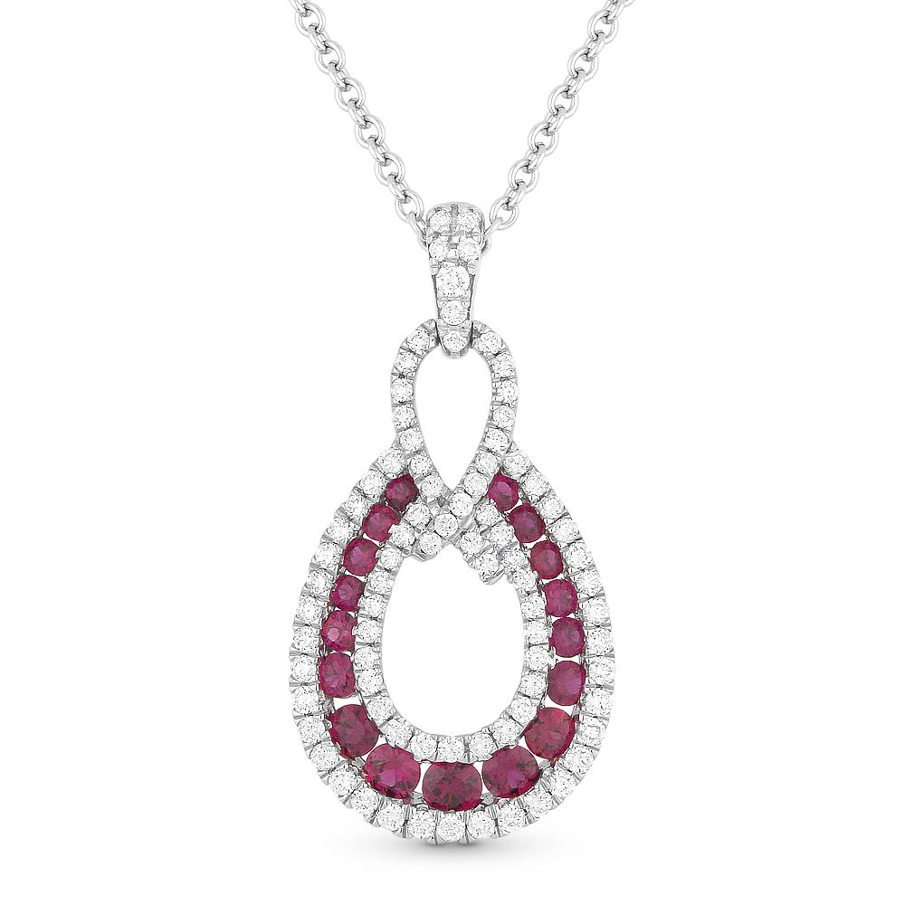 Ct ruby u diamond pave teardrop pendant u chain in k white