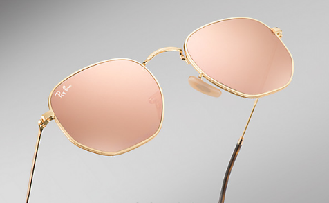 Ray Ban Hexagon Sunglasses GOLD, with ROSE GOLD LENS RB 3548N 001 z2 ... d5070d79b2