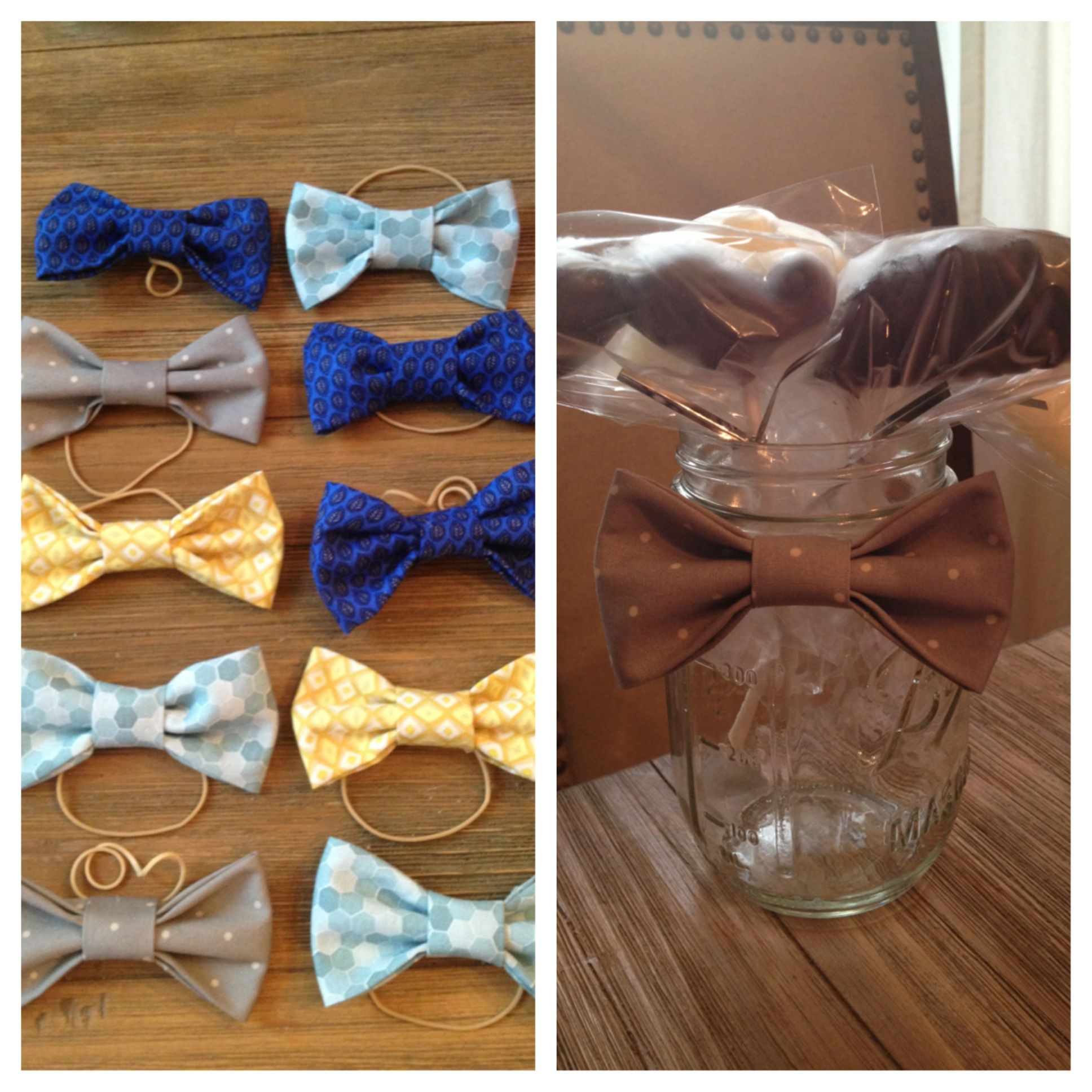 DIY bow ties and chocolate lipop mustaches put inside a mason