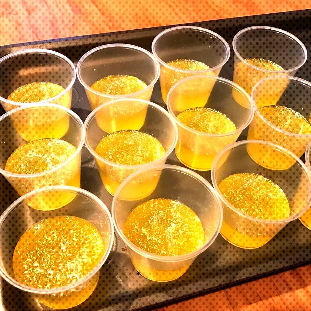 Ready for the weekend with some limoncello jello shots. Added edible glitter to make it new years