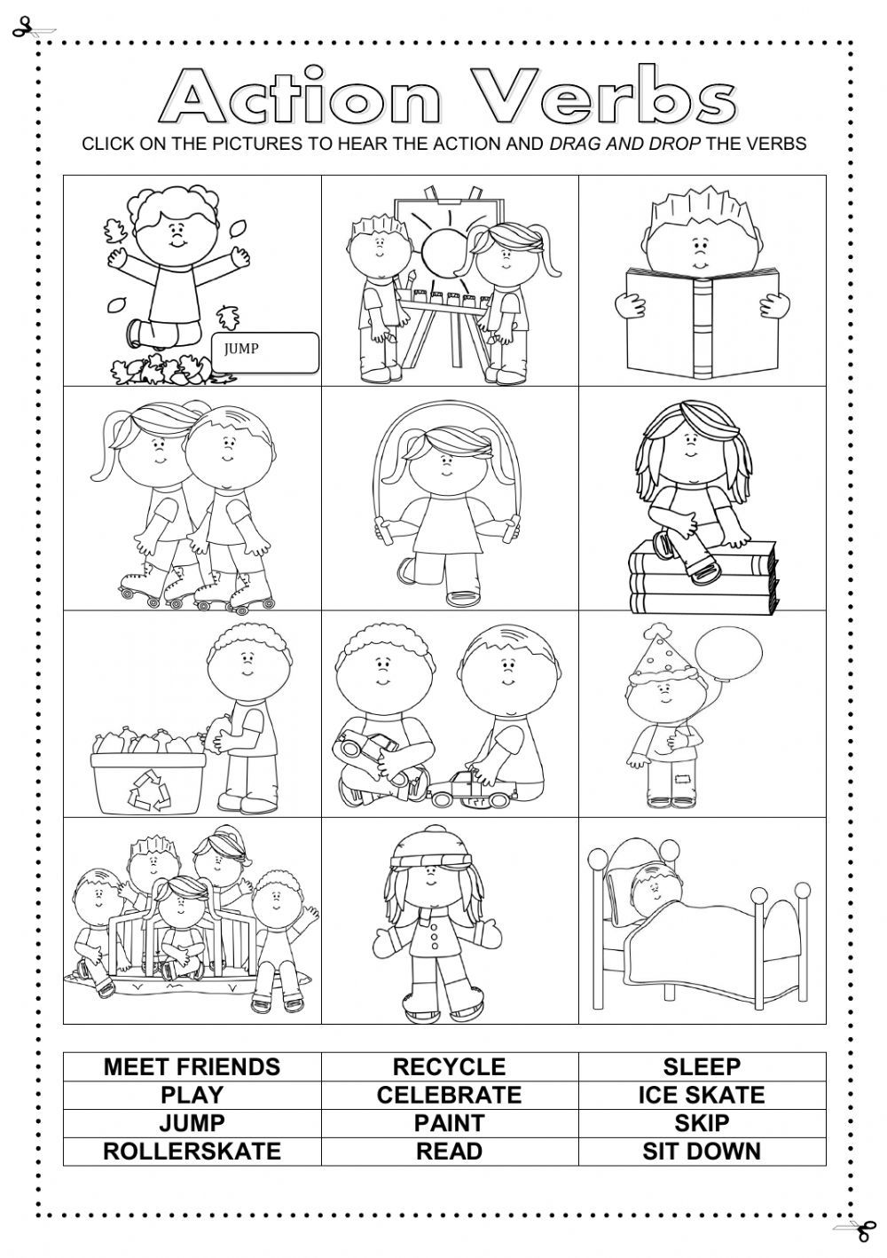 Free Printable Alphabet Worksheets For Pre-k Pdf Action Verbs Interactive And Downloadable Worksheet Check Your  Spring Tracing Worksheets Pdf with Free Time Activities Worksheet Action Verbs Interactive And Downloadable Worksheet Check Your Answers  Online Or Send Them To Your Area Of Shapes Worksheet Excel