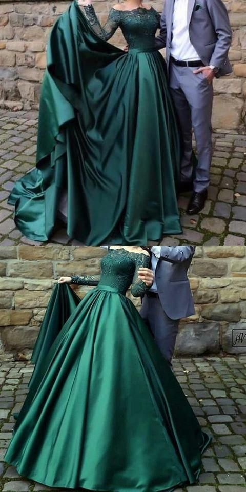 Photo of party dresses off shoulder modest long sleeves dark green prom dr