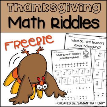 Thanksgiving Math Riddles Freebie Math Riddles Thanksgiving Math Thanksgiving Math Activities