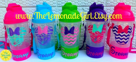 Personalized Sippy Cup, Personalized Water Bottle, Disney Party Favor, Minnie Mouse Birthday Party by TheLemonadeGirl, $40.00