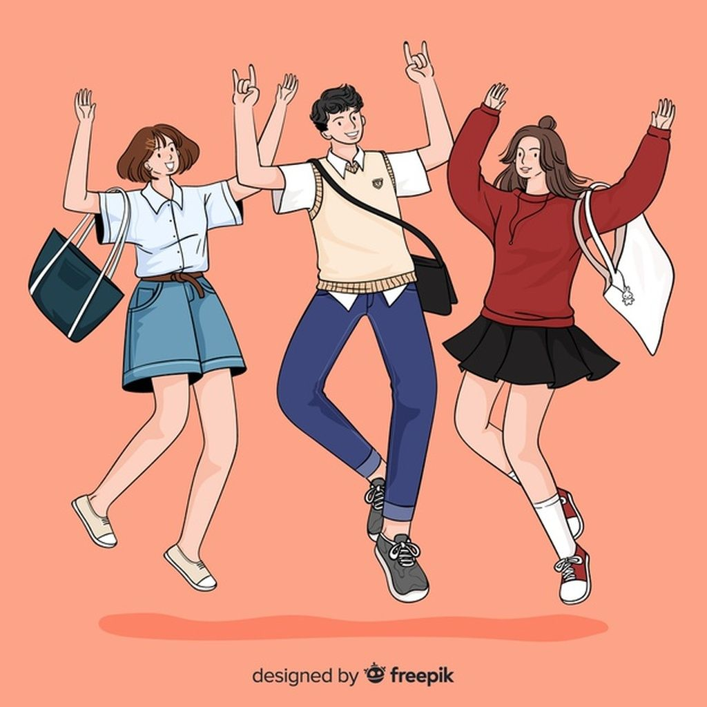 Young People Jumping In Korean Drawing Style Paid Paid Affiliate Jumping Style Drawing People In 2020 Fashion Drawing Drawings Korean Artist