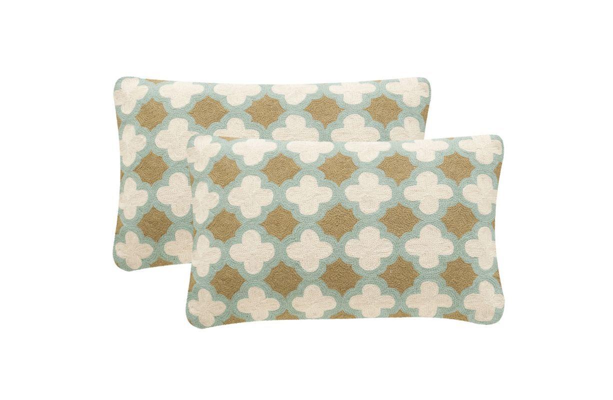 Safavieh DEC912A Rectangular Amist Green Carna Pillow with Feather Filling from 12 x 20 Set 2 Home Decor Pillows Pillows
