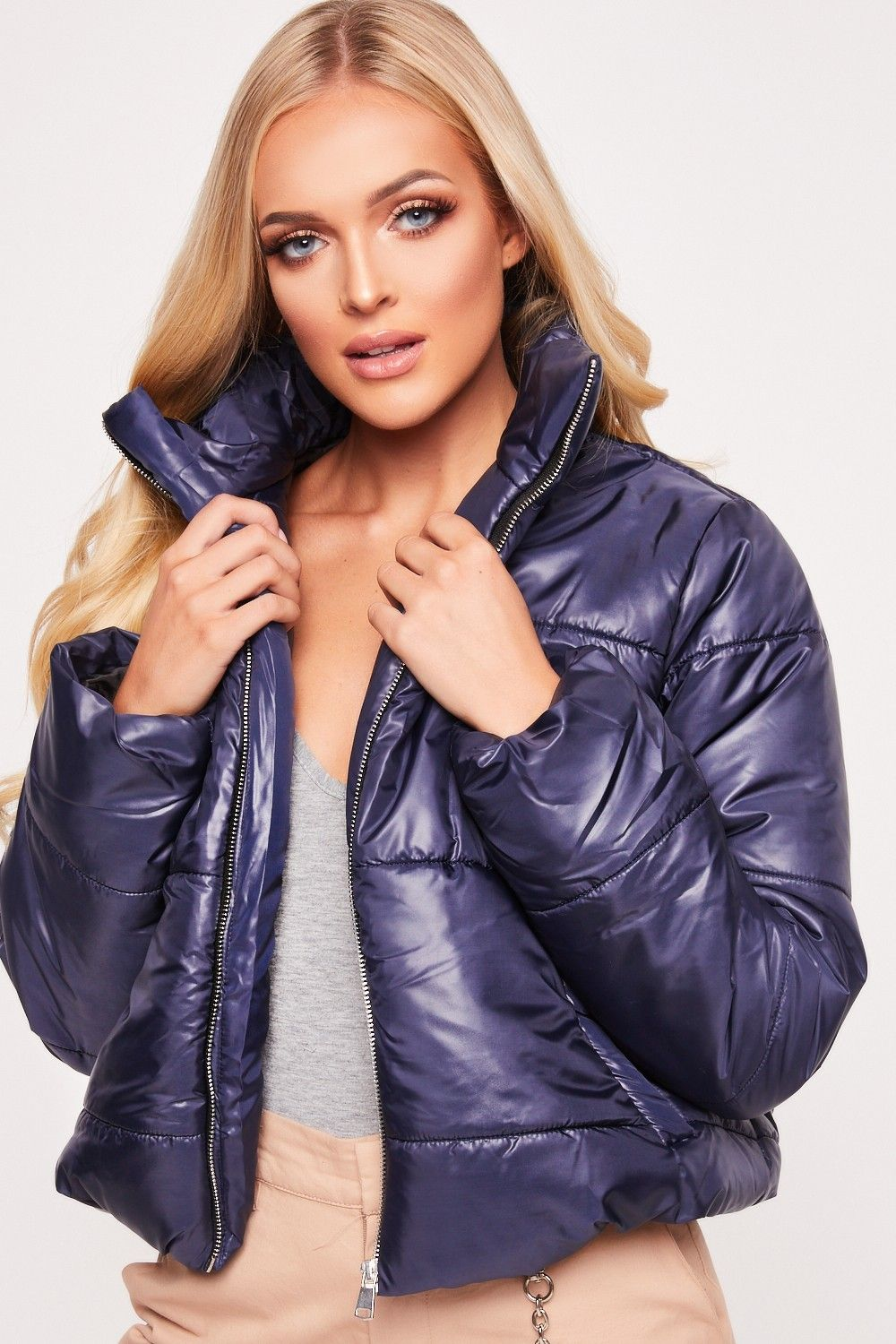 Ruby Navy Cropped Puffer Jacket Puffer Jacket Women Puffer Jackets Jackets For Women [ 1500 x 1000 Pixel ]